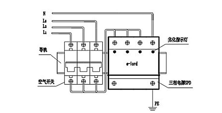 易龙epp65t三相电源浪涌保护器385vac家用防雷器