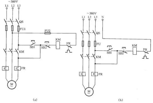 图13 加密的电动机控制线路 为防止误操作电气设备,并防止非操作人员启动某些设备开关按钮,可采用加密的电动机控制线路,如图13所示。操作时,首先按下SB1按钮,确认无误后,再同时按下加密按钮SB3,这样控制回路才能接通,KM线圈才能吸合,电动机M才能转动起来。而非操作人员不知其中加密按钮(加密按钮装在隐蔽处),故不能操作此设备开关。 14 交流接触器低电压启动线路 当供电电压在交流接触器吸引线圈额定电压的85%以下时,启动接触器衔铁将跳动不止,不能可靠吸合,在交流接触器的控制回路中串联一只整流管,改为直