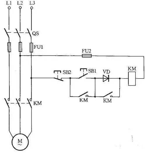 图14 交流接触器低电压启动线路 因为启动电流较大,所以这种线路只适